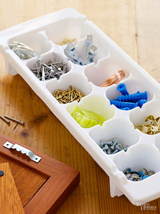 Genius Organizing Solution - Manage loose screws and smaller hardware items in an ice cube tray.