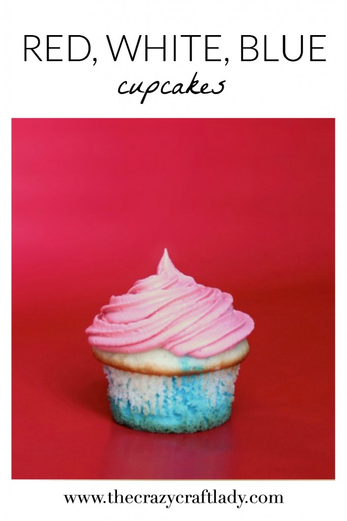 This is such an AMAZING idea! Layer cake mix and frosting to create multi-colored cupcakes. Red, white, and blue cupcakes are perfect for your summer gathering.
