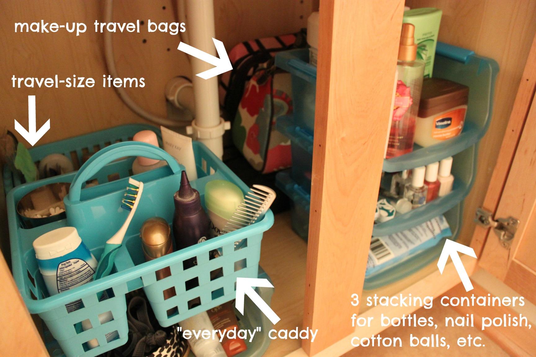dollar store bathroom organizing - The Crazy Craft Lady