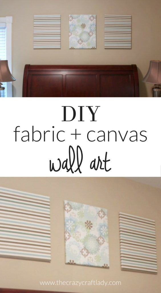 Nice Easy DIY Fabric Wall Art   Wrap Inexpensive Canvas With Patterned Fabric  For Inexpensive Wall Decor