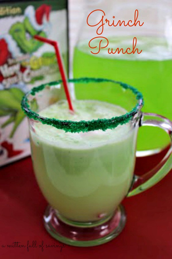 "The Best Grinch Crafts and Treats - make this fun ""Grinch Punch"" for your next party. How the Grinch Stole Christmas fun."