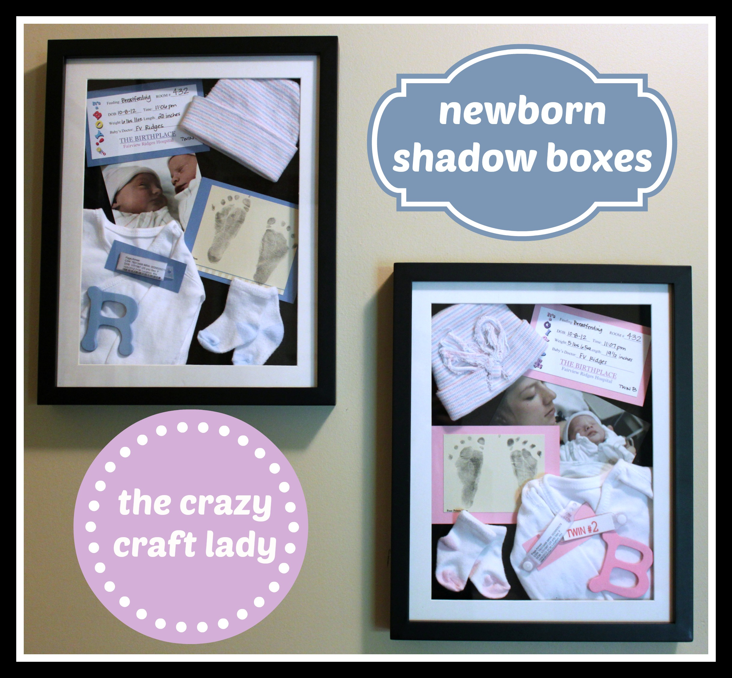 newborn shadow boxes for the twins