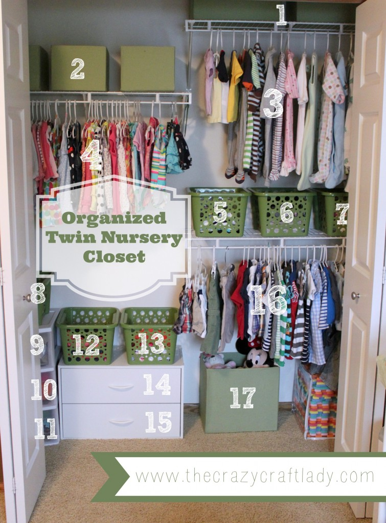 Organized twin nursery closet the crazy craft lady - Small baby room storage ideas ...