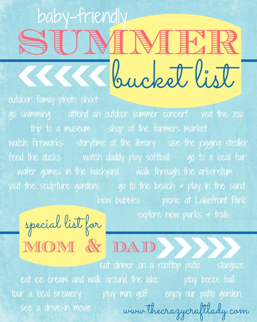 baby-friendly summer bucket list - The Crazy Craft Lady