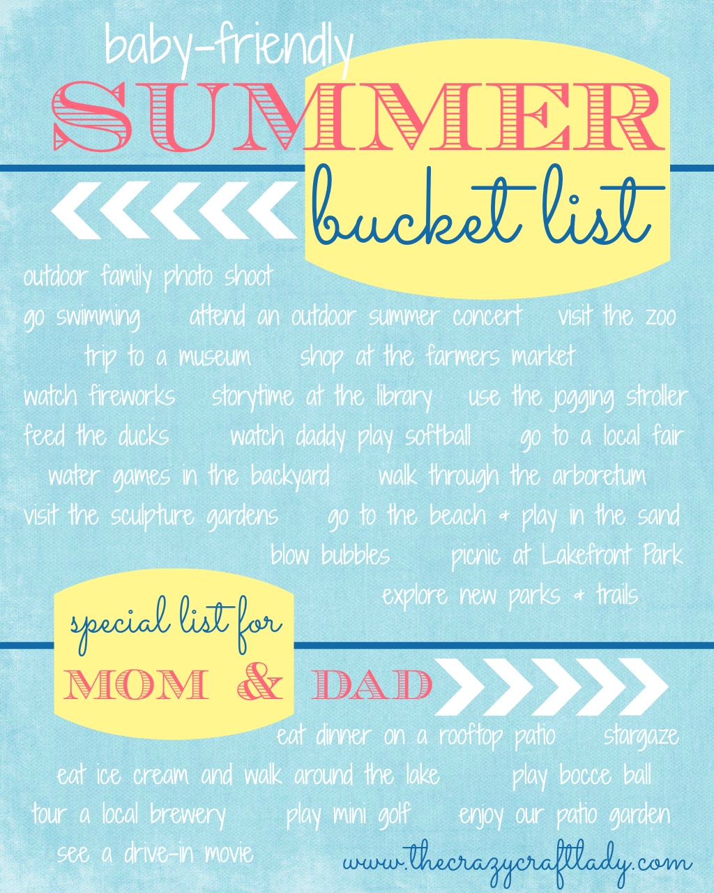 my summer bucket list {baby-friendly summer activities}