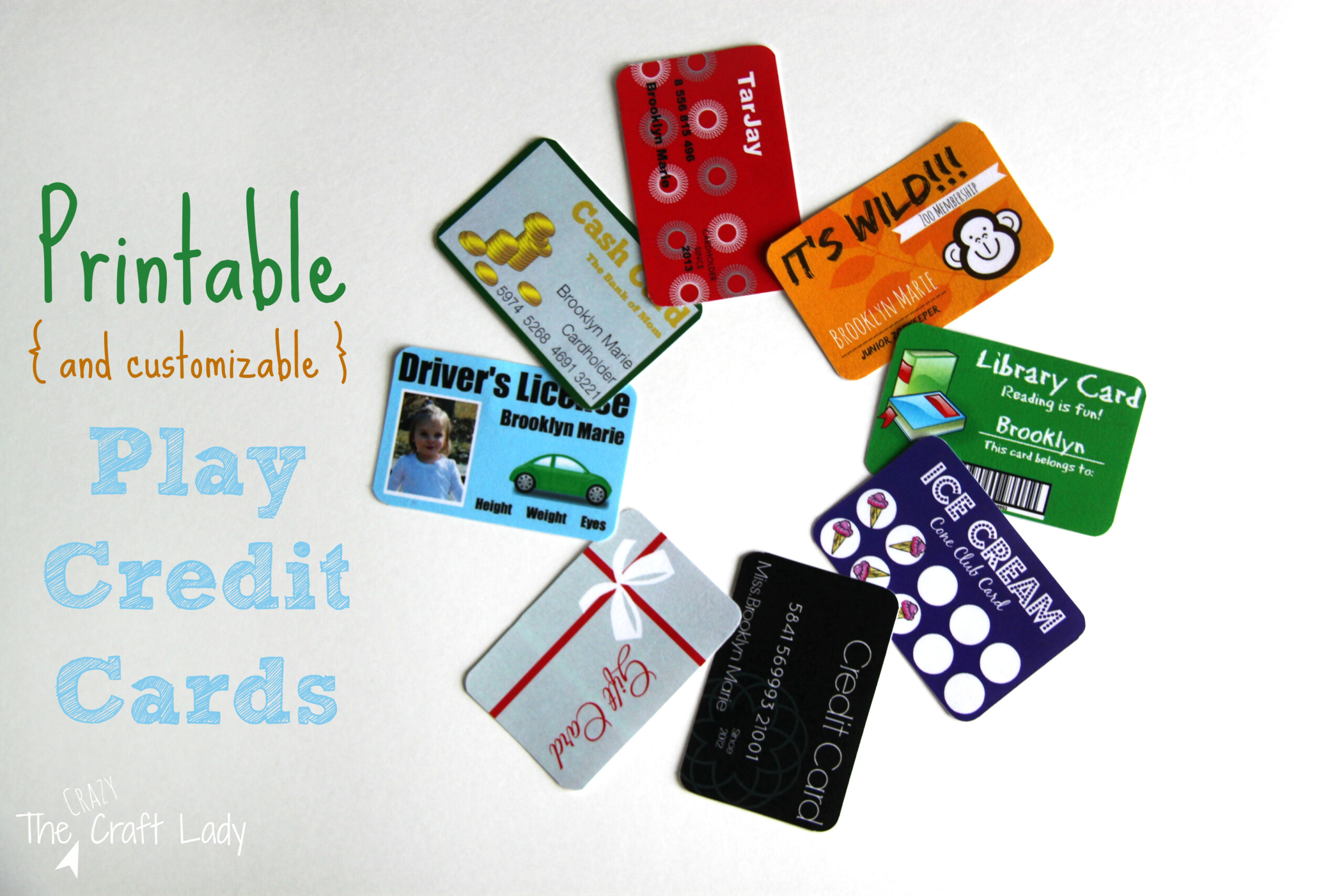 Printable (and Customizable) Play Credit Cards - The Crazy Craft Lady