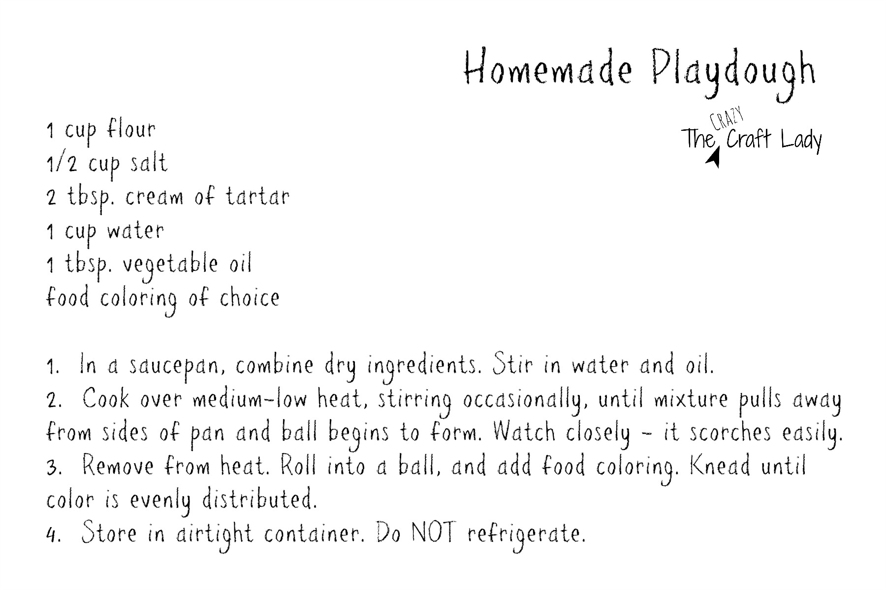 Homemade Playdough Printable Recipe Card