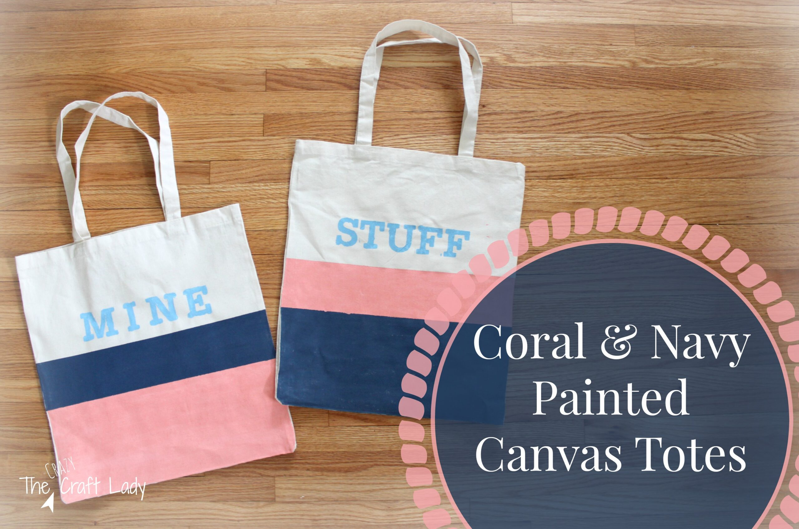 Coral & Navy Painted Canvas Tote