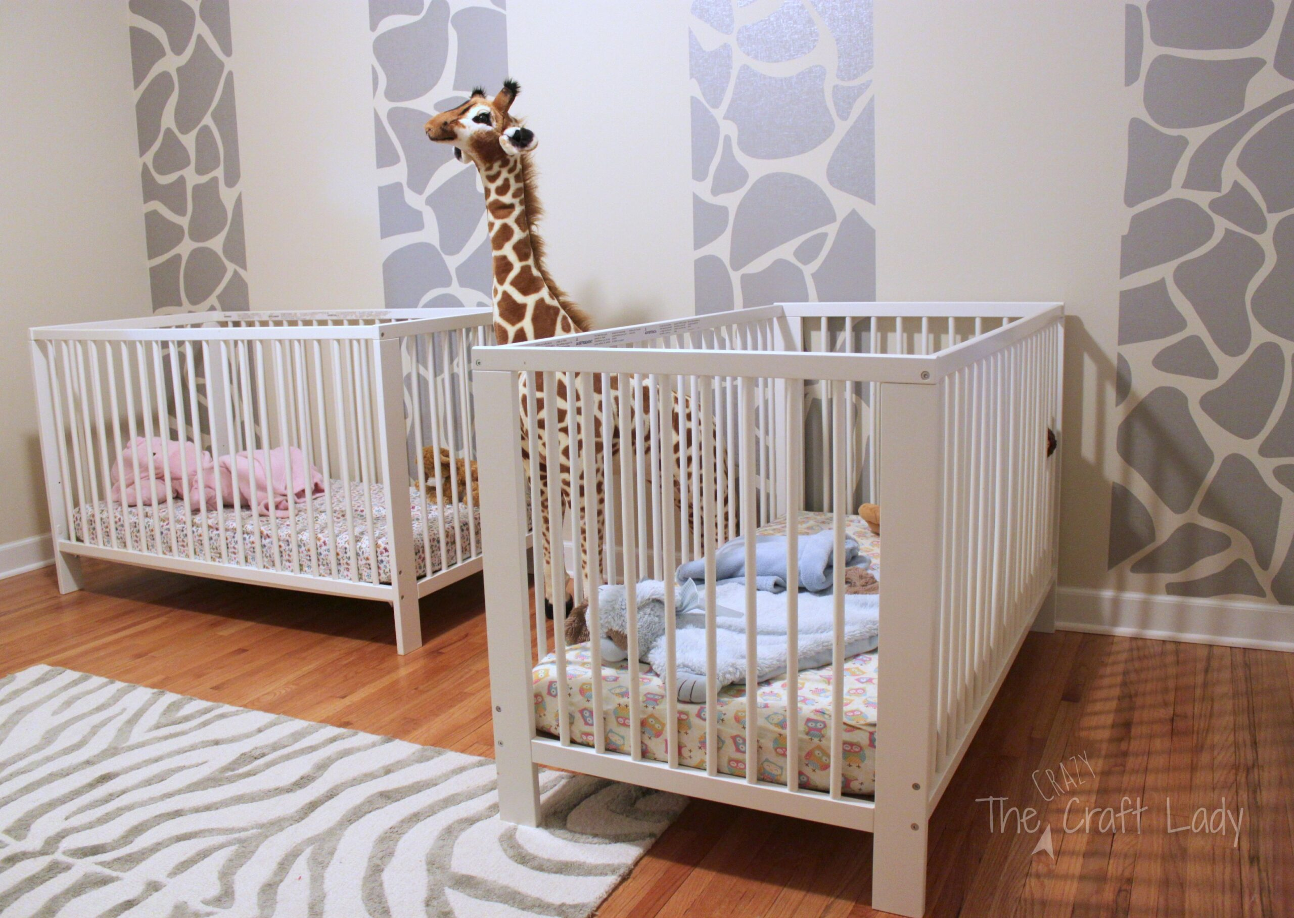 Twins Room Phase 1: Giraffe Striped Feature Wall