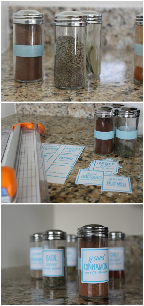 DIY Spice Jar Labes with washi tape and a FREE printable