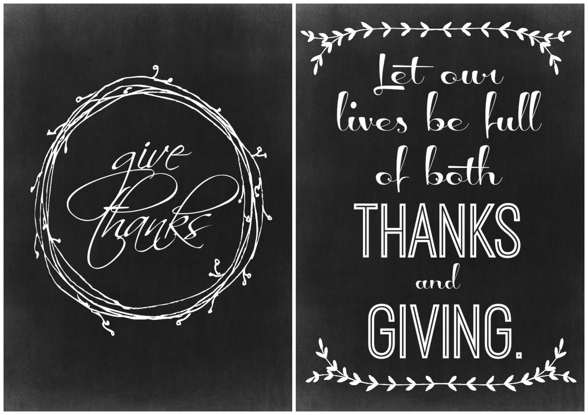 Two Thanksgiving Chalkboard Printables