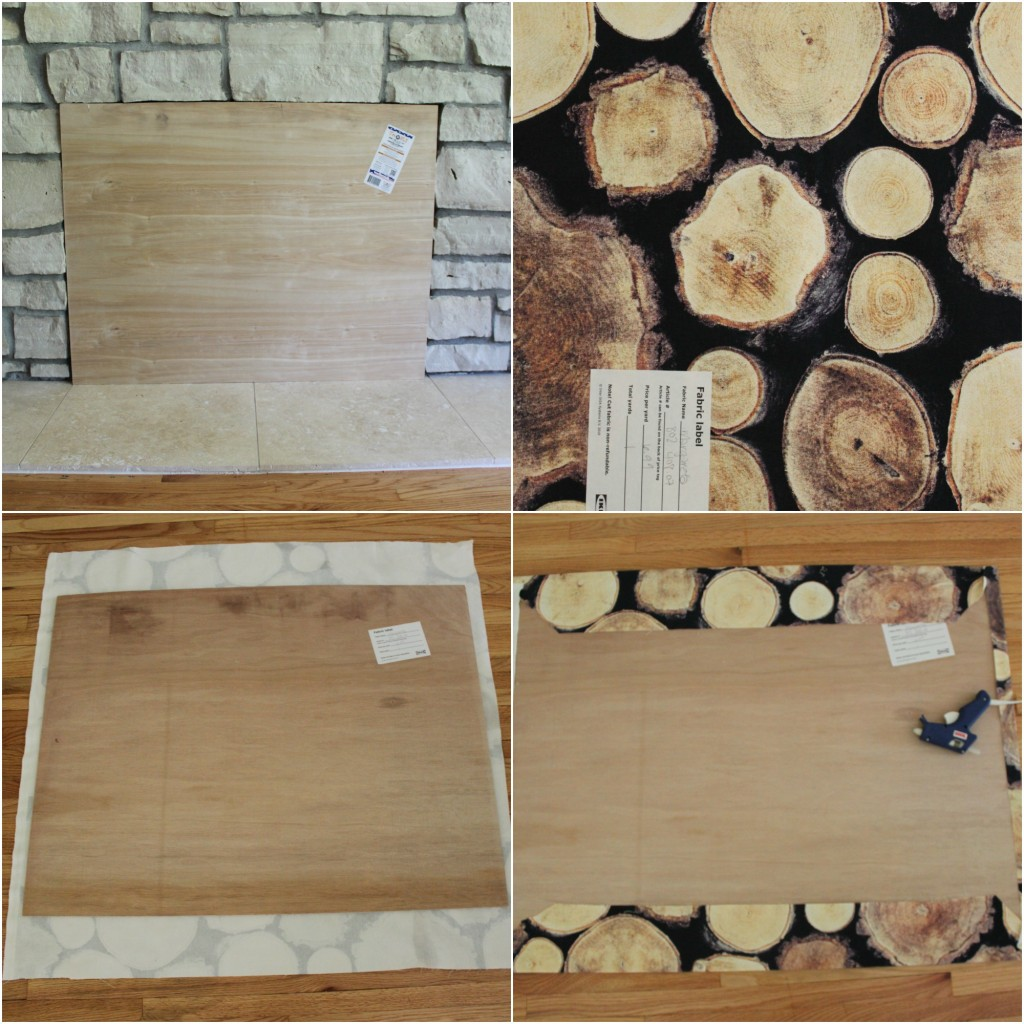 faux stacked wood fireplace cover using fabric and plywood