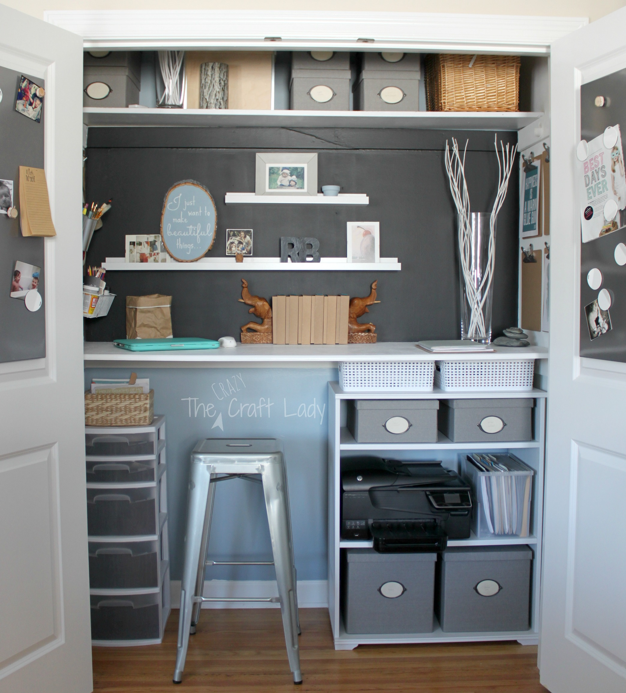 Fabulous Home Office In A Closet The Crazy Craft Lady Largest Home Design Picture Inspirations Pitcheantrous