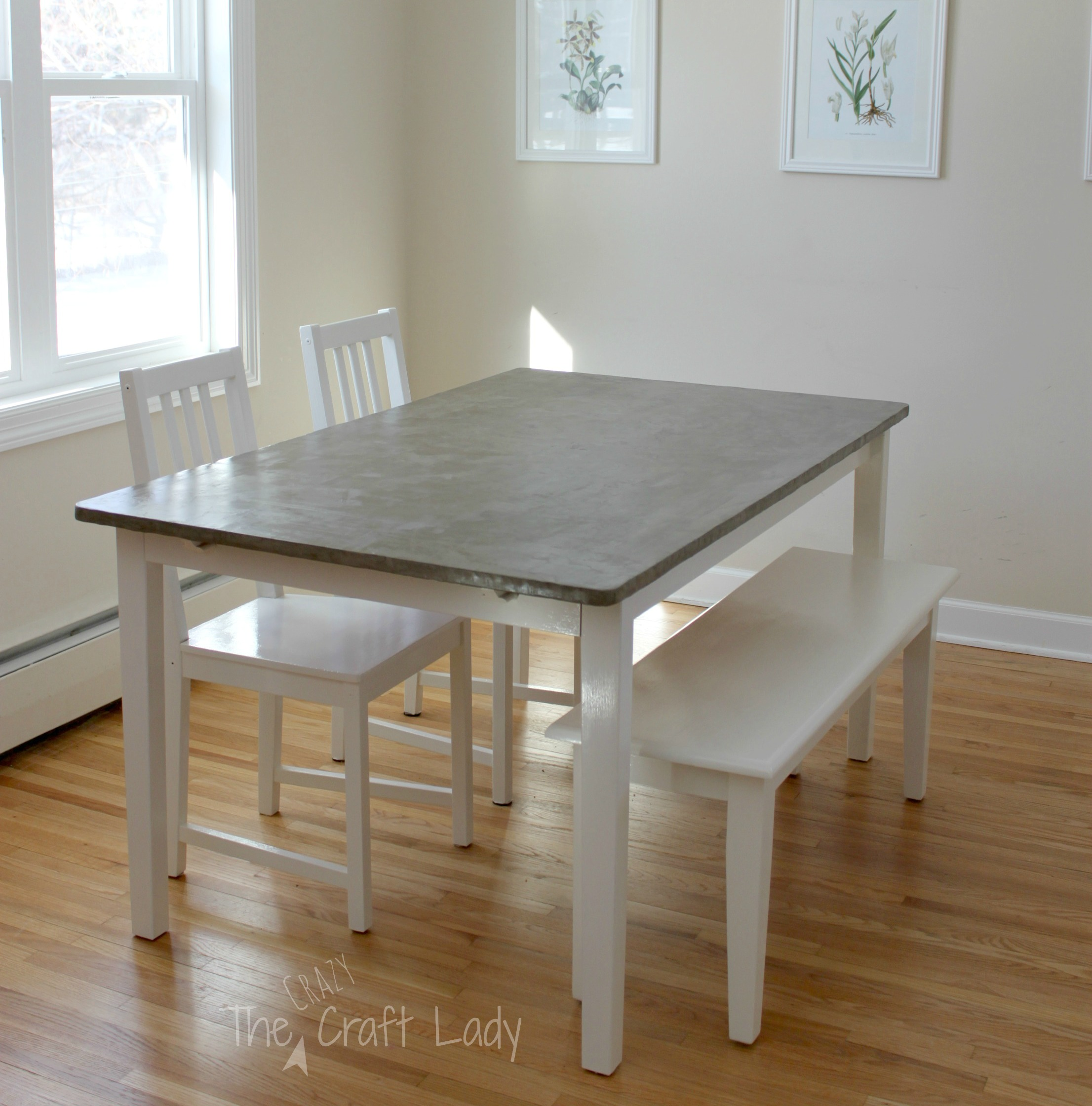 DIY Concrete Dining Table Top and Dining Set Makeover - The Crazy ...