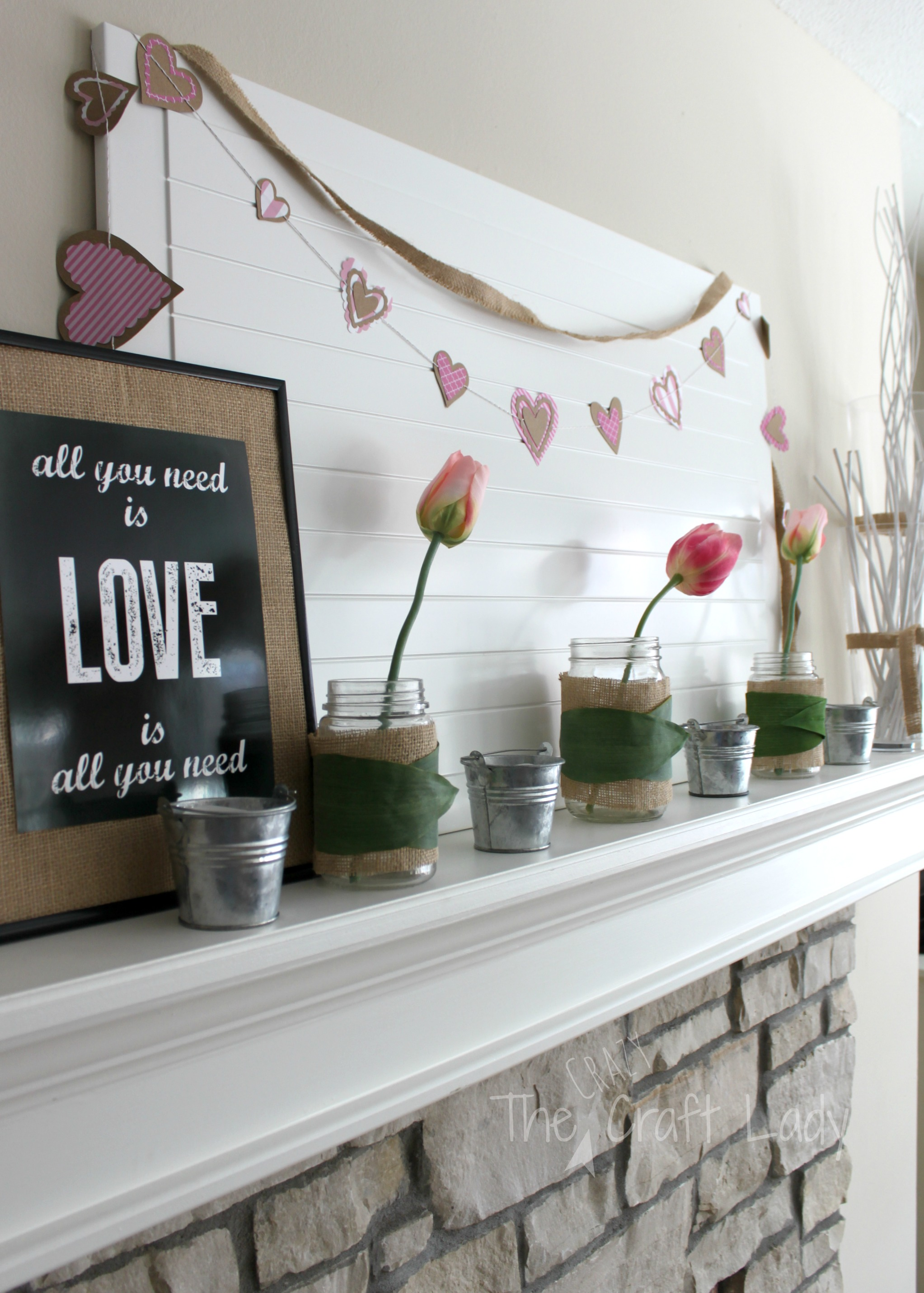 A Spring-Inspired Valentine\'s Mantle - The Crazy Craft Lady