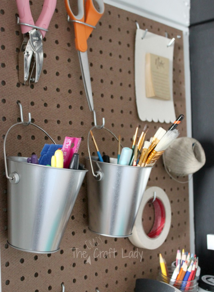 Pegboard storage for craft supplies