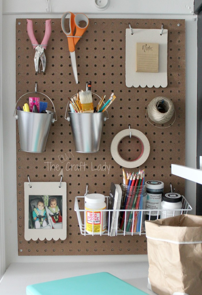 Pegboard storage in a closet - turned home office