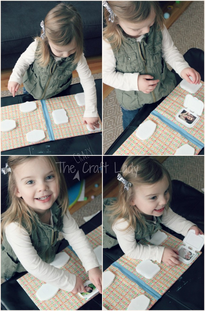 DIY Family Board Book using flip-tops from wipes containers