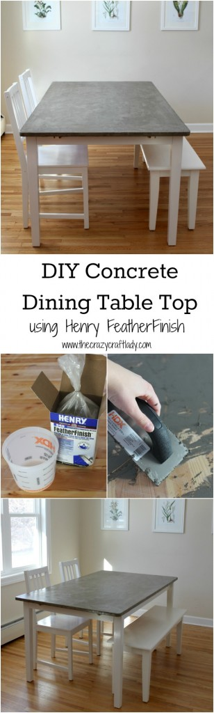 DIY Concrete Dining Table Top using Henry FeatherFinish - full tutorial from The Crazy Craft Lady
