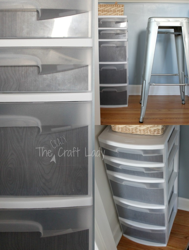 tape scrapbook paper to the inside of clear plastic storage drawers for a custom look