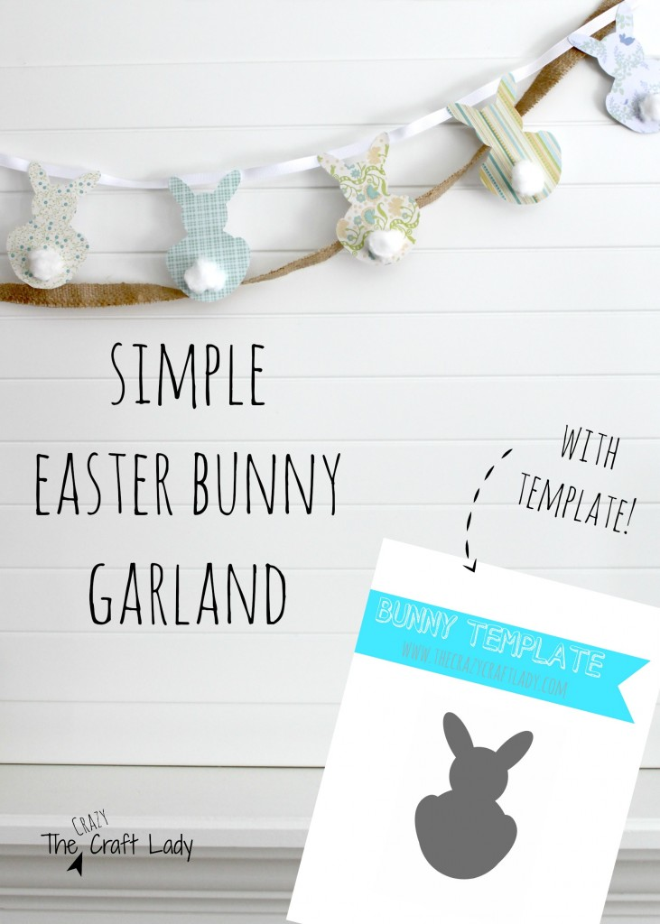 Bunny Garland made from Scrapbook Paper & Cotton Balls - with a free printable template. What a fun Easter craft!