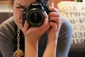 sweater-turned-camera strap