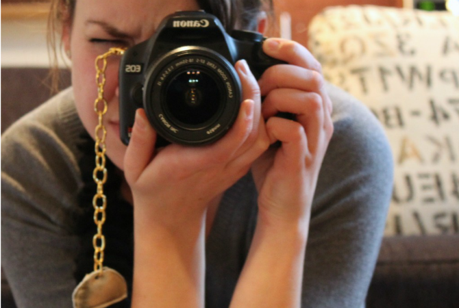 sweater-turned-camera strap