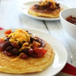 Chili and Cornbread Pancakes - a simple 20-minute weeknight meal made with indgredients you have in your pantry.
