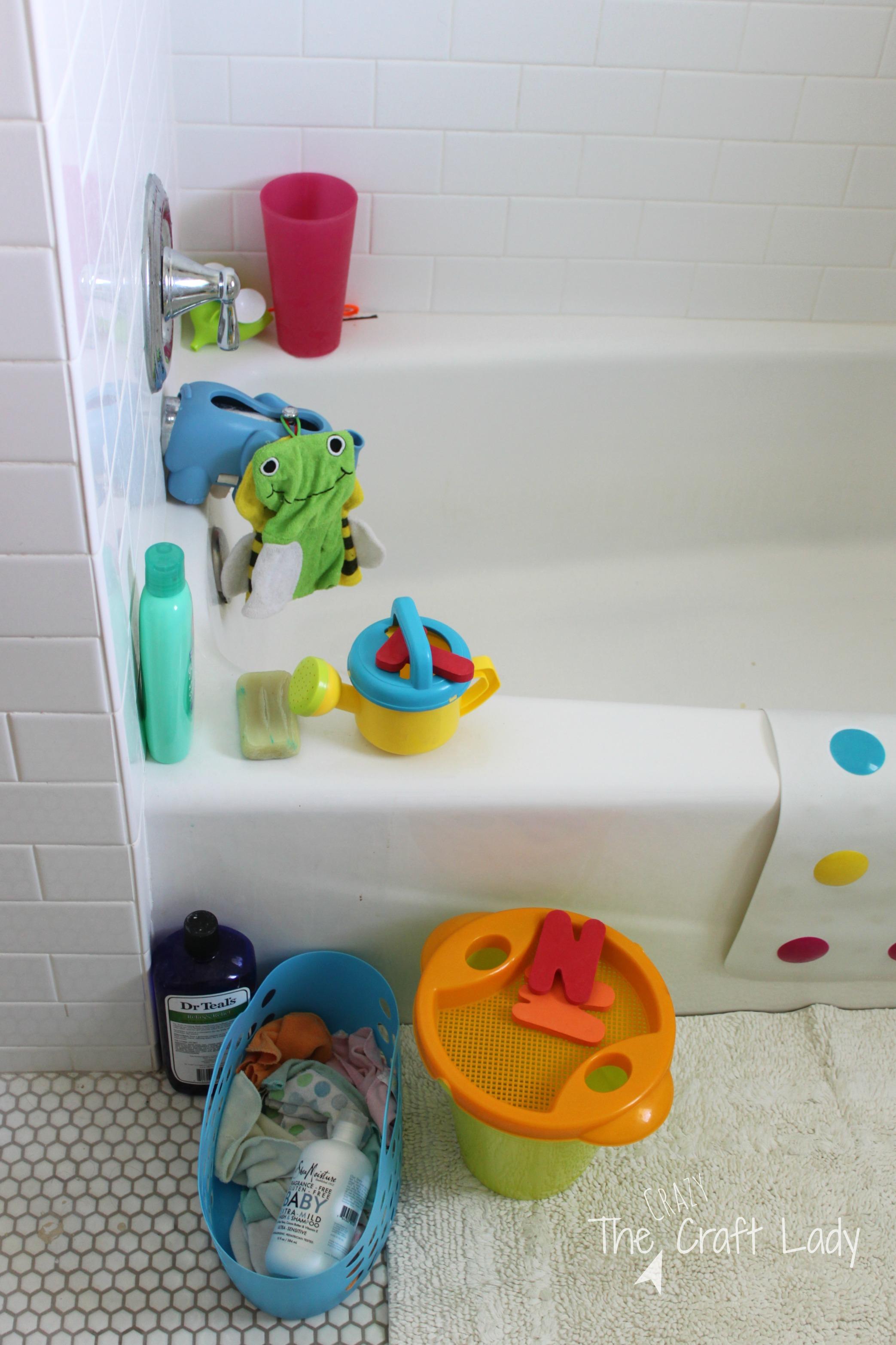 Bathroom Toys Storage 1 Tub Toy Storage Solution The Crazy Craft Lady