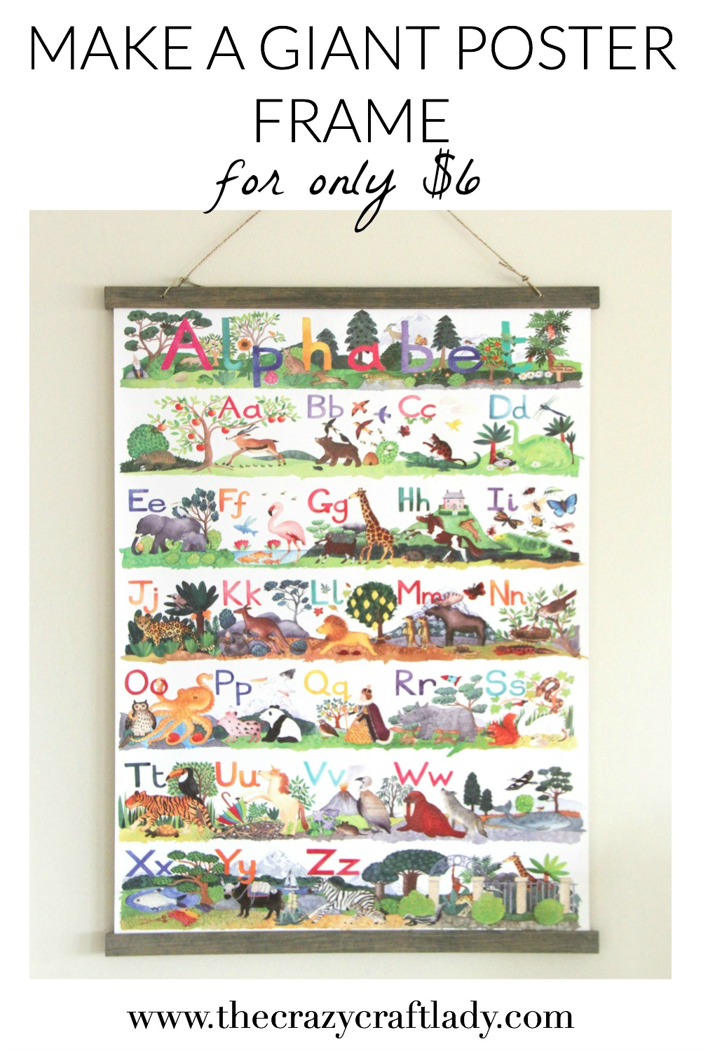 How to Make a Large Poster Frame {for only $6} - The Crazy Craft Lady