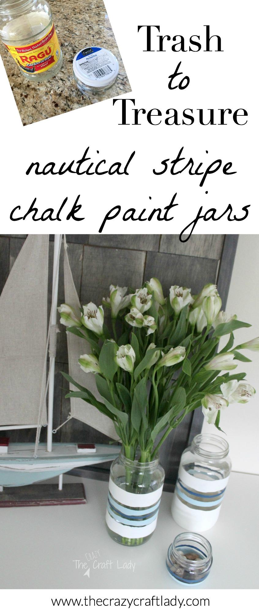 nautical stripe chalk painted jars the crazy craft lady. Black Bedroom Furniture Sets. Home Design Ideas