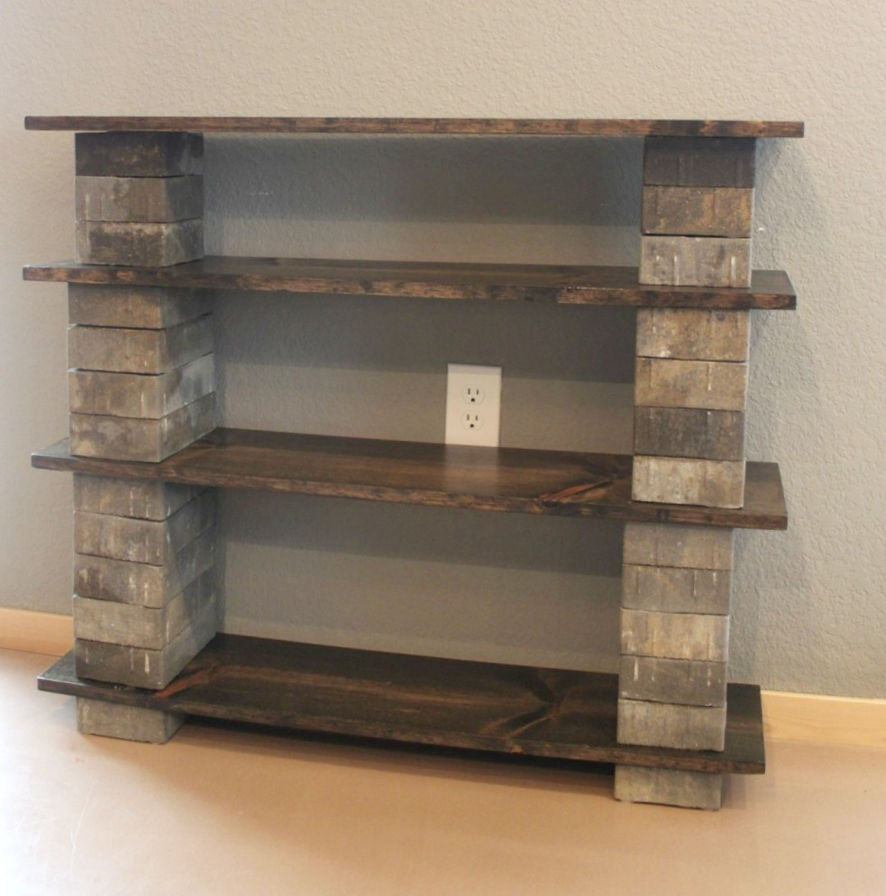 Concrete Block Bookshelf