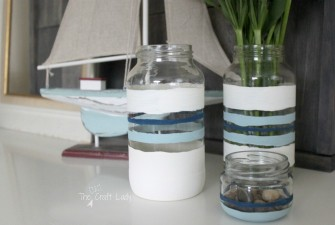 Nautical Stripe Chalk Painted Jars