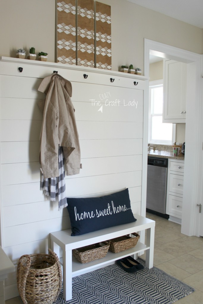 A plank wall entry reveal