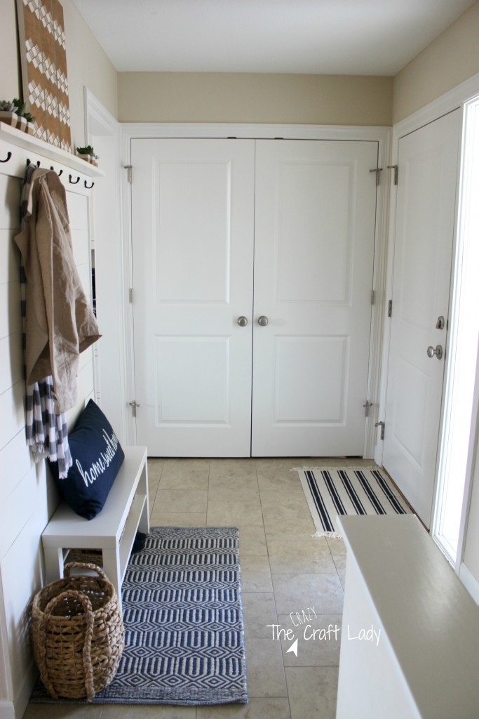 Entry Love - this plank wall entry is the perfect small space solution!