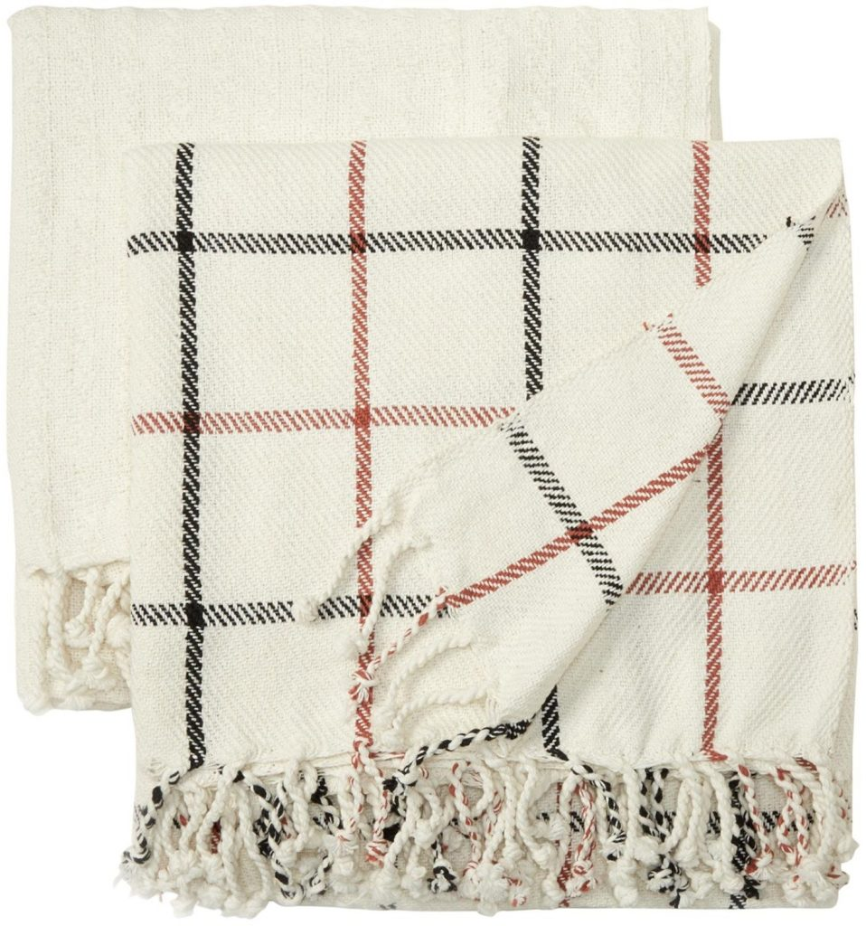 2 pack cotton plaid throw