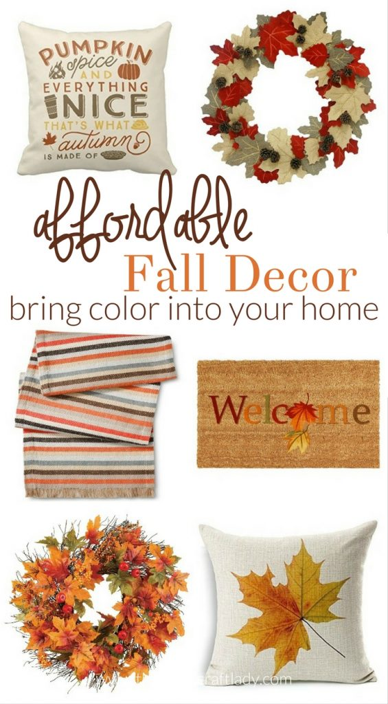 Affordable Fall Decor - bring color into your home, without breaking the bank - fall wreath - fall pillows - fall decorating