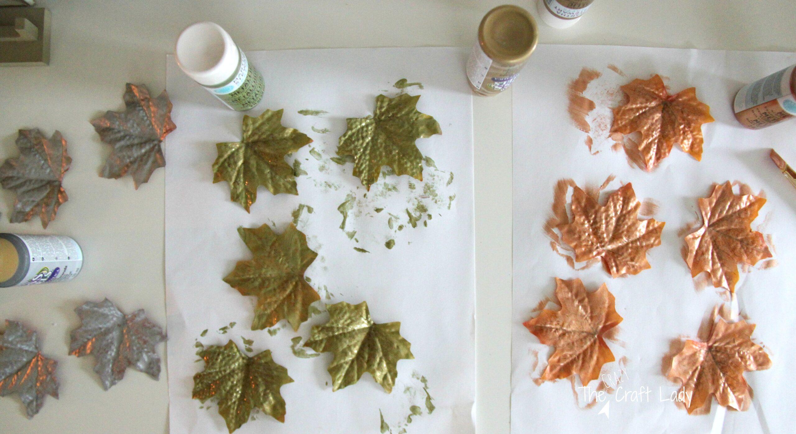 Dollar Store Metallic Leaves