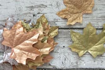 Dollar Store Metallic Fall Leaves