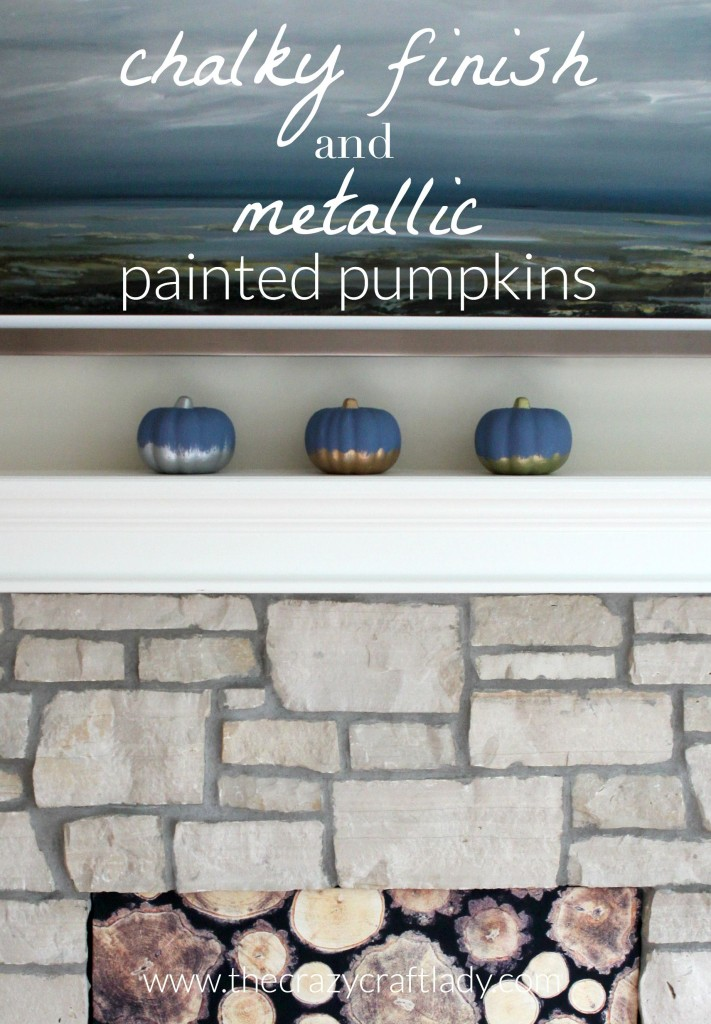 Chalky + Metallic Finish Painted Dollar Store Pumpkins - a great dollar store craft for fall. Blue chalky paint is a perfect choice to accent your coastal decor.
