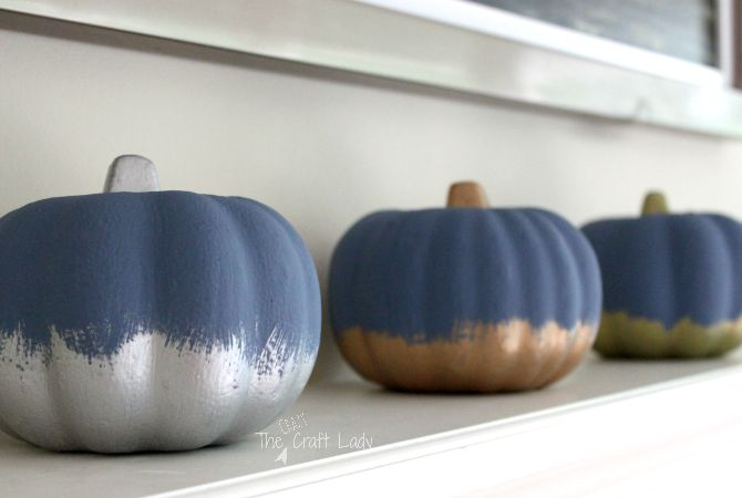 Painted Dollar Store Pumpkins – Chalky + Metallic Finish