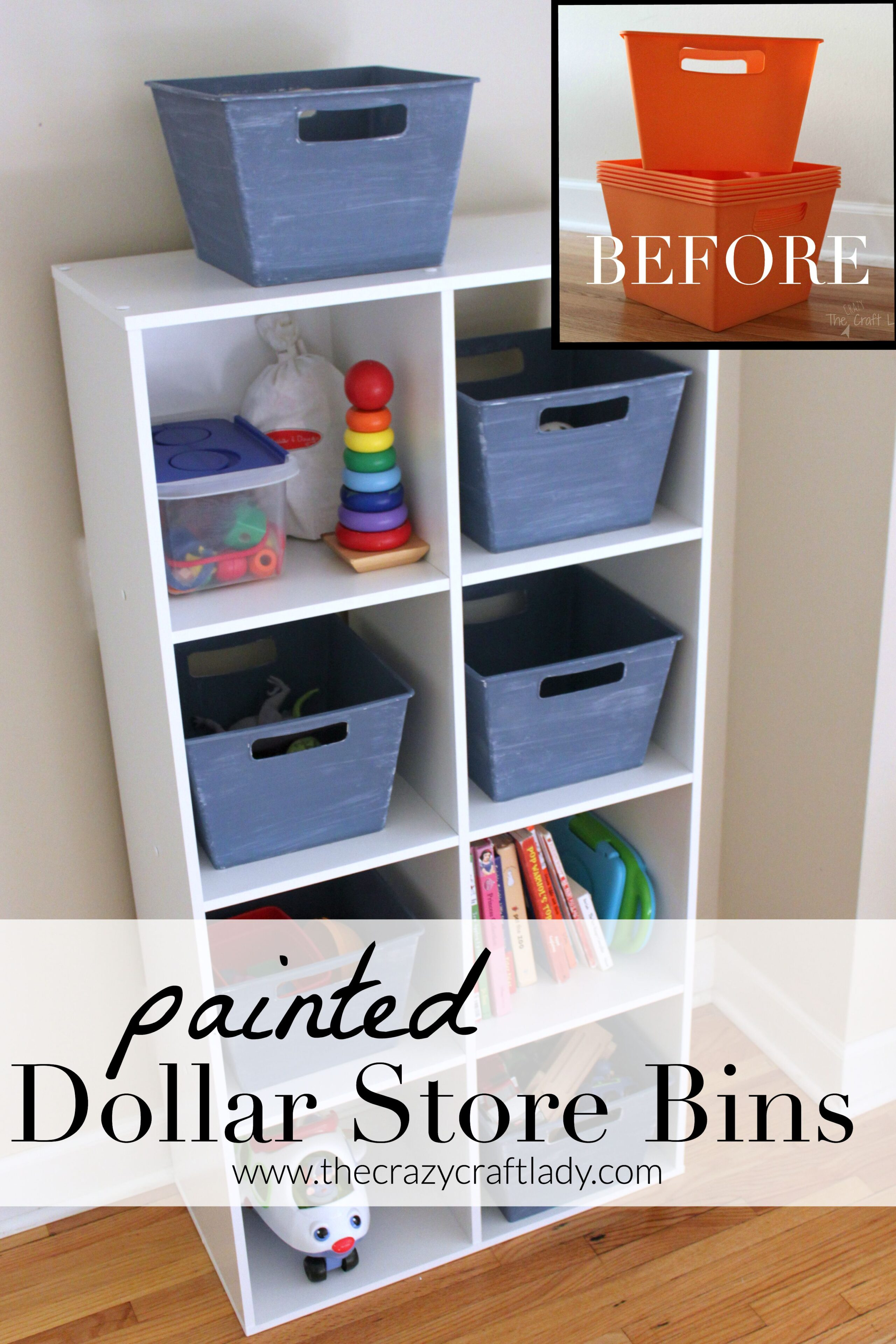 Getting Organized With Painted Dollar Store Bins The