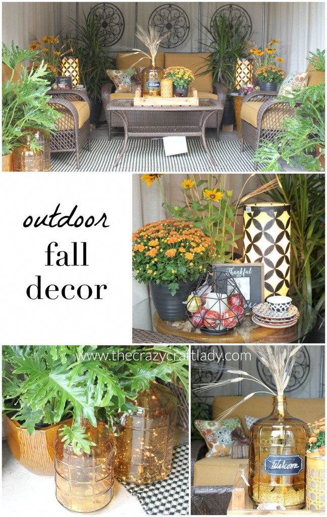 Outdoor spaces decorated for fall.
