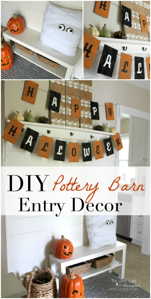 Halloween Entry Decor - Two AWESOME Pottery Barn knock-off decor crafts for Halloween. How cute is that pillow?