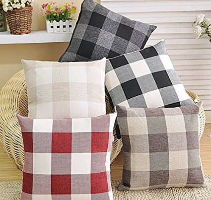 check pillow covers - inexpensive fall decor