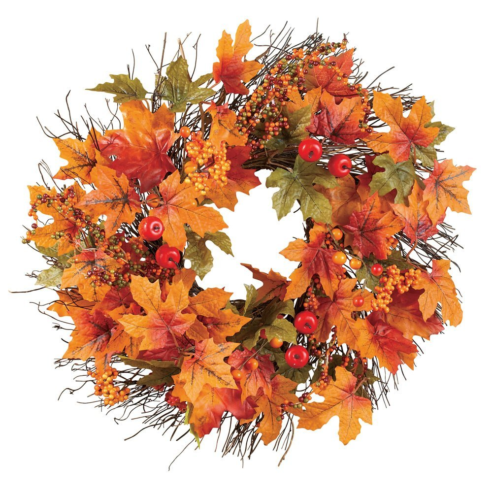 leaves and berries wreath - affordable fall decor