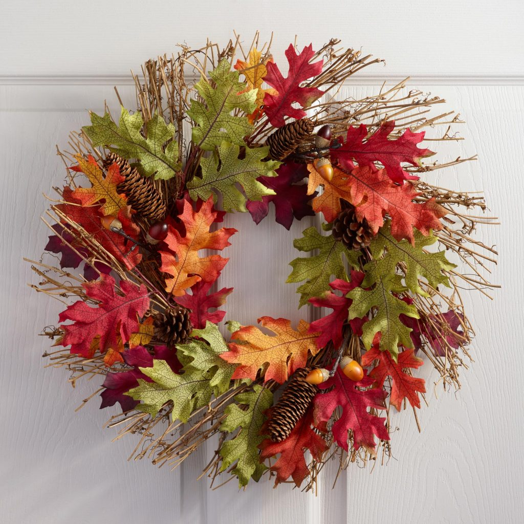 oak leaf wreath - affordable fall decor