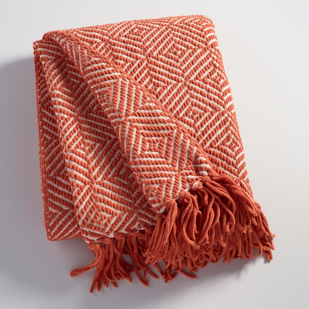 orange throw - affordable fall decor