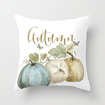 watercolor pumpkin pillow cover - affordable fall decor