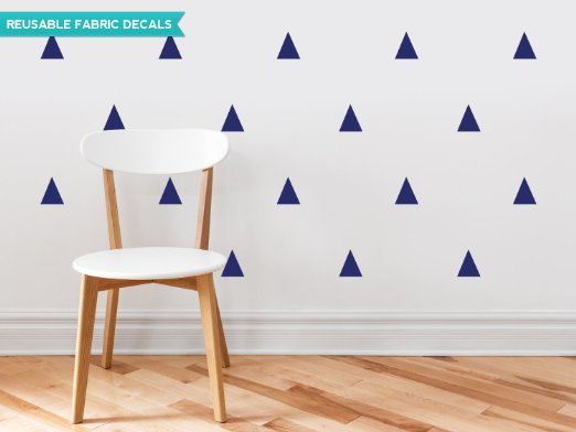 Triangle Fabric Wall Decals - Set of 32 Triangles - Navy Blue - Triangle Pattern Decor - Reusable, Repositionable